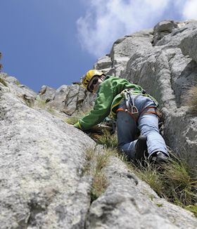 Felix Brown learning to climb in Cornwall. His first ever route.