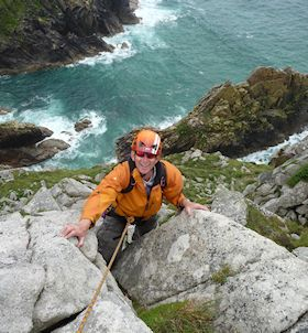 Adrian Brown climbing on the multi-pitch route Alison Rib V Diff in Bosigran, Cornwall.
