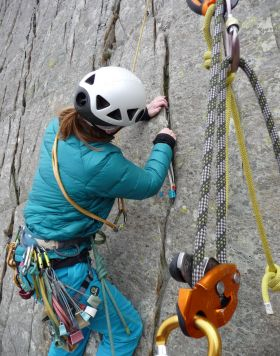 Learning to lead on a multi pitch route in North Wales. I am always alonside you so we can discuss the placement of gear as you go along